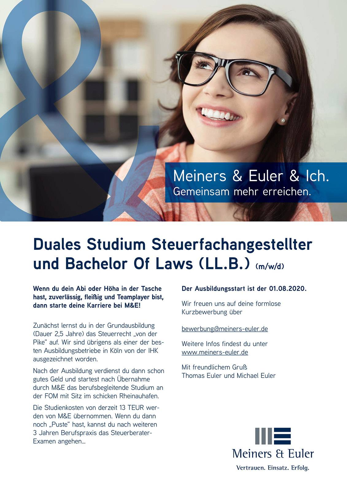 Duales Studium Steuerfachangestellter und Bachelor Of Laws (LL.B.)
